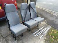 Vw t5 rear combi seats 2+1 on sliding rails