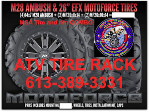"M28 MSA 14"" WHEELS & 26"" EFX MOTOFORCE COMBO KIT  ATV TIRE RACK"