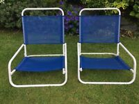 Pair of Low Folding Beach Chairs