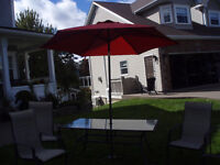 Patio Full Set - table, 6 chairs, umbrella,