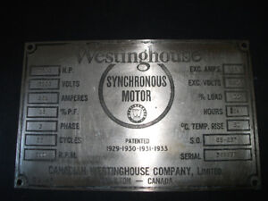 WESTINGHOUSE MAKERS PLATE SIGN HAMILTON ONT.