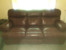 2 piece recliner leather suite,burgundy.
