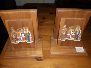 Antique wooden bookends