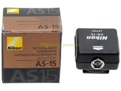 Nikon slitta flash AS-15 adattatore presa sincro. Nuovo, originale.