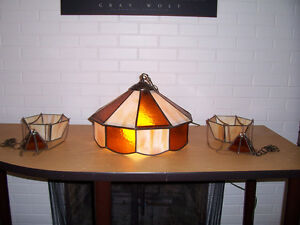 hanging stained glass planters & light fixture