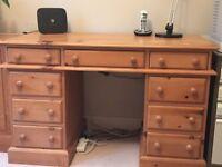 Solid Pine Nine Drawer Desk