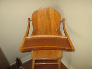Antique Child's Wood High Chair