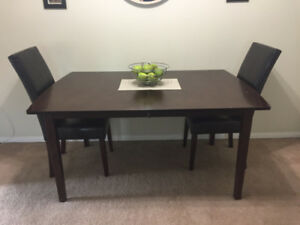 Dining Table Set - 6 chairs, expandable table with inlet