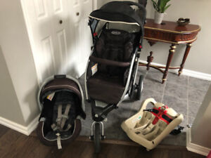 Graco Stroller Travel System- stroller, car seat and 2 bases!