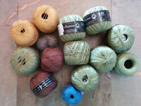 Cotton yarn, thin, green, yellow, and brown