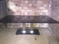 Coffee Table in Black Glass & Chrome