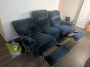 Blue reclining couch