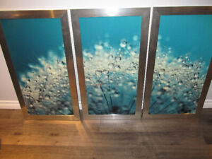 STUNNING TEAL LARGE PICTURE SET OF 3