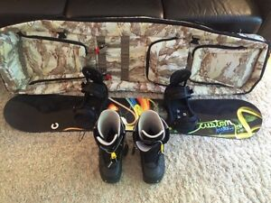 Like New - Burton Snowboard, Boots, Bindings, and Travel Bag