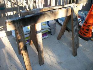 antique wooden sawhorses 15$