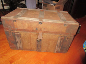 """Vintage!! Very old distressed travelling trunk 28x16x16"""""""