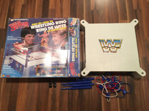 Vintage WWF LJN Wrestling Ring with Box COMPLETE WWE