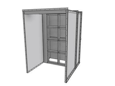 New 5 Wide X 7 Tall X 3.5 Deep Open Face Powder Coat Booth With Light