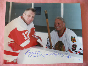 20 x 16 Bobby Hull & Brett Hull Dual Signed Bench Pose Photo