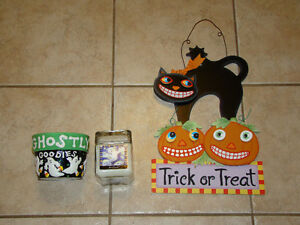 HALLOWEEN CANDY DISH, CANDLE & WALL DECORATION