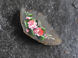Beautiful painted AGATE - stone - broach ($12)