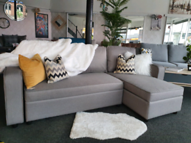 NEW Grey Fabric Chaise Corner Sofa Bed with Storage DELIVERY AVAILABLE