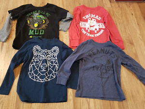 Boys 4T lot - 4 long sleeved shirts EUC