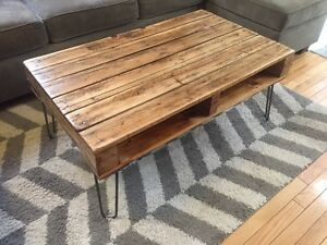 Recycled Oak & Reclaimed Pine Coffee Table on Hairpin Legs