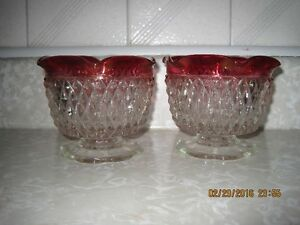 Indiana Glass Ruby Red Ruffled Candle Holders