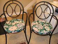 4 Wrought Iron Garden Chairs with Custom Cushions.