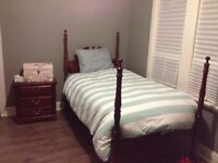 Bed and night table set with mattress and spring box