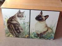 Two large Athena block print lovely cat pictures