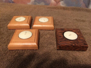 Wood Handcrafted Tealight Candle Holders - Four