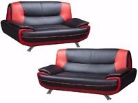 SUPERB FINISH BLACK & RED /// BRAND NEW CAROL 3+2 SOFA SUITE FAUX LEATHER SOFA IN 3 COLOR