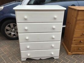 WHITE PAINTED PINE CHEST OF DRAWERS