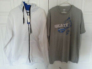 Men's Moto jeans sweater and athletic works t-shirt