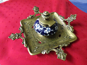 ANTIQUE INKWELL WITH CERAMIC BOWL - PARKER PICKERS -