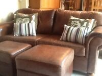 Leather Sofa with 2 Leather Ottomans