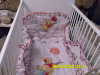 White Crib with bedding included