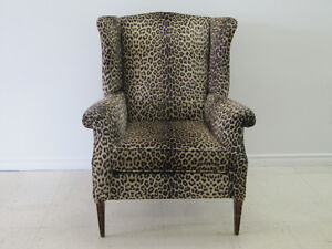 Leopard Print wing back chair
