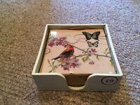 Tile Bird Coasters (4) - unused/ as new