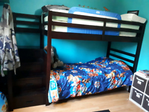 Solid wood bunk bed with Staircase storage