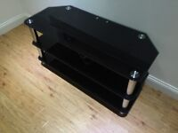 Large glass and chrome TV stand