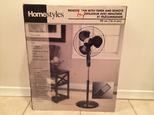 Homestyles pedestal fan with timer and remote