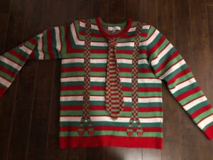 "Jolly Sweater Mens ""Shirt n' Tie"" Ugly Christmas Sweater-Medium"