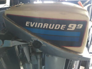 9.9 hp Evinrude outboard motor. Recently tuned up, runs great