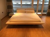 Super King Size bed with side drawers and headboard and mattress
