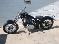 Triumph with '44 Harley springer front end