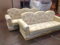 3+3 cream bed settee USED (NEEDS TO BE GONE URGENT)