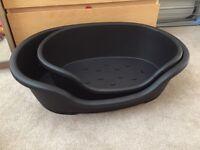 2x Black Plastic dog beds Small Medium